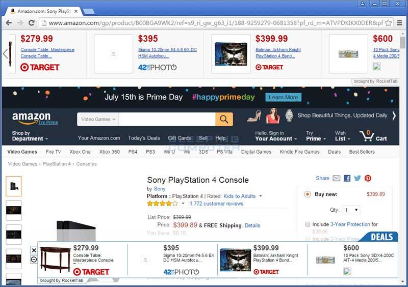 RoketTab ads on Amazon