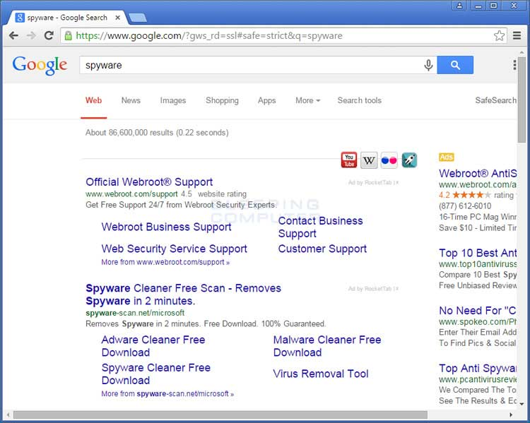 RocketTab ads in Google Search Results