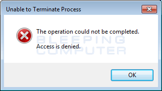 Error when trying to kill a process