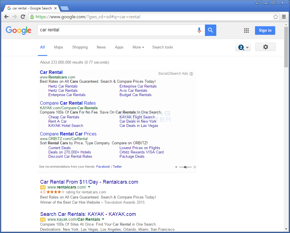 Social2Search ads in Google