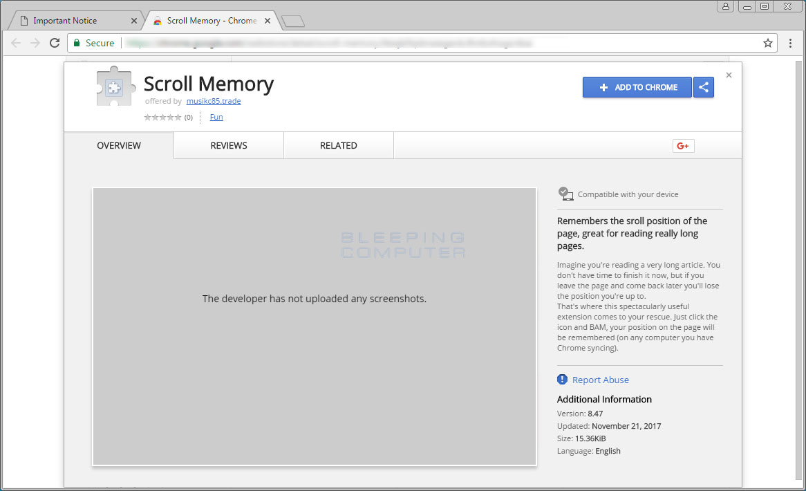 Scroll Memory Chrome Web Store Page