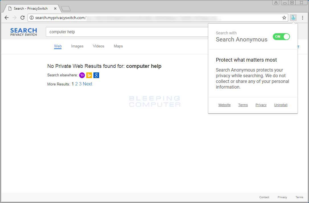 Search Anonymous Extension