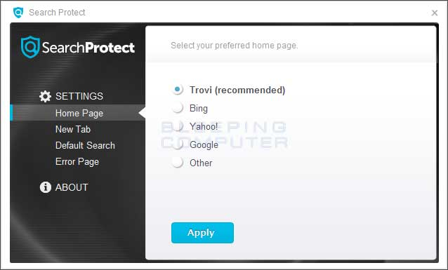 Search Protect Home Page Settings