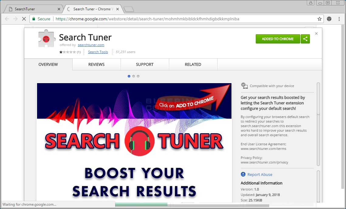 Search Tuner Chrome Web Store Page