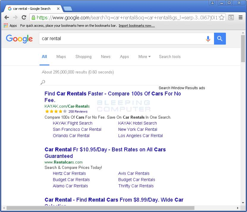 Search Window Results ads in Google