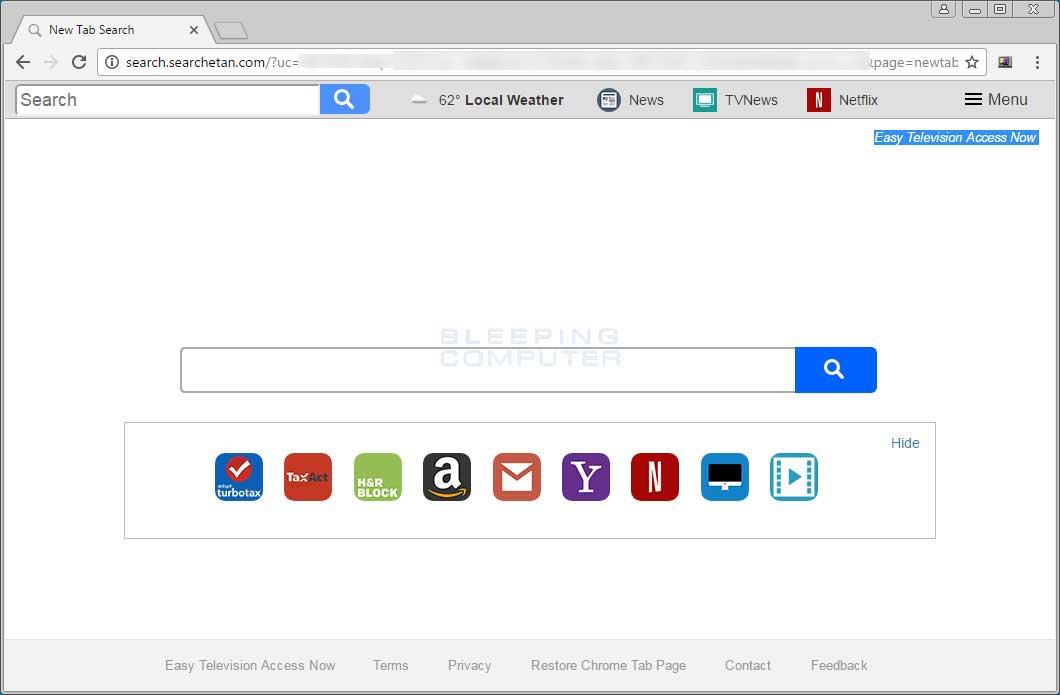 Remove Search searchetan com Chrome New Tab Page