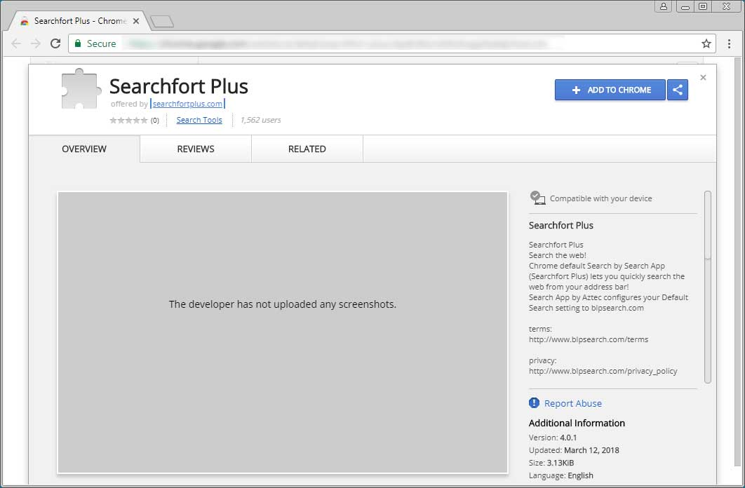 Searchfort Plus Chrome Web Store Page