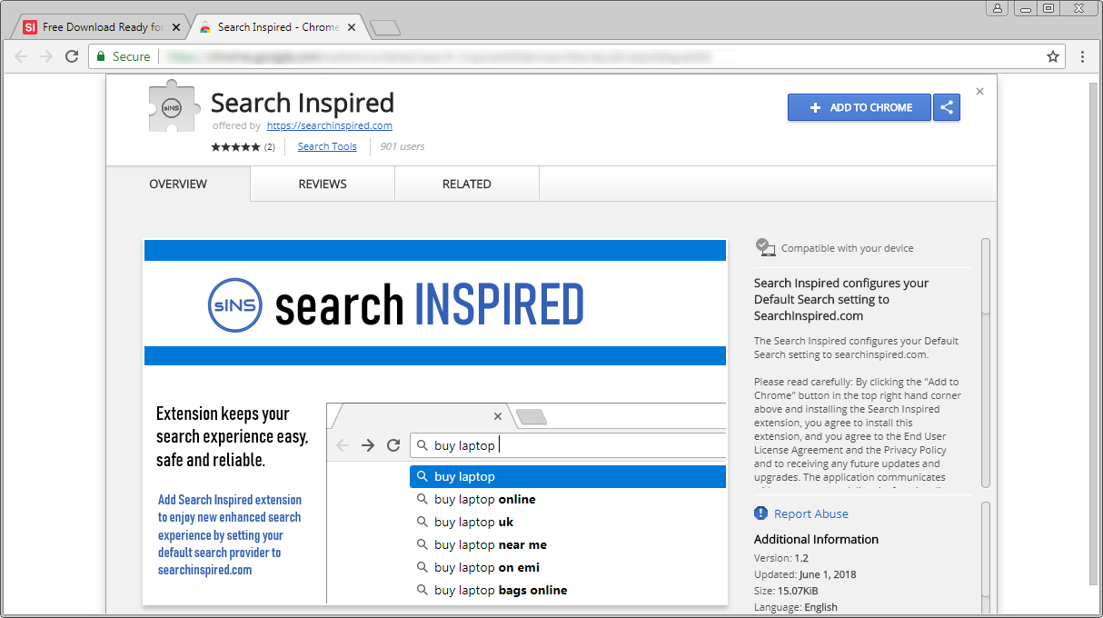 Search Inspired Chrome Web Store Page