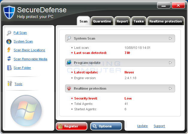 SecureDefense screen shot