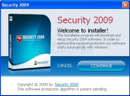 Installation screen for Security 2009