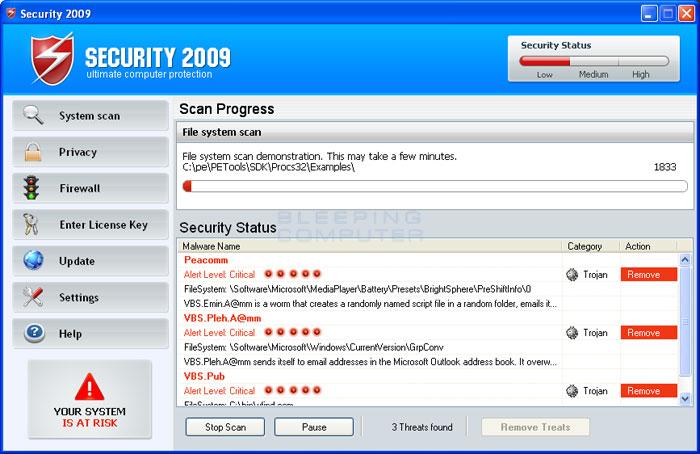Security 2009 screen shot