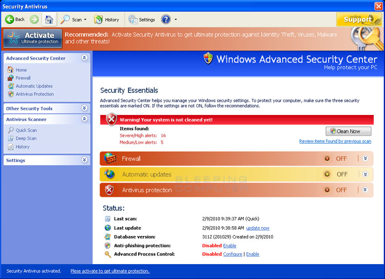 Security Antivirus screen shot