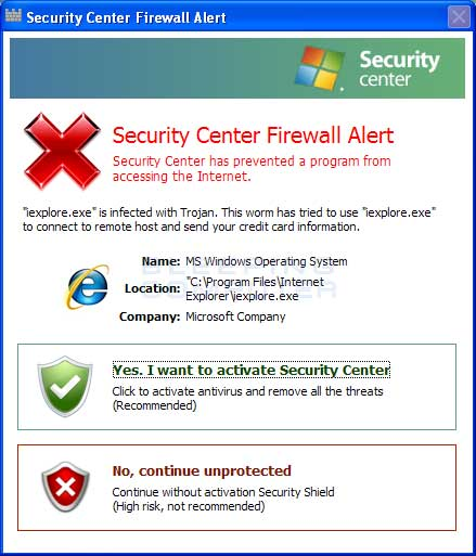 Fake Firewall alert