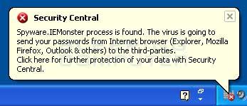 Fake Security Central alert
