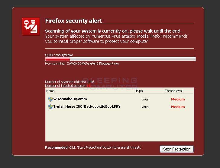 Fake Firefox web security alert