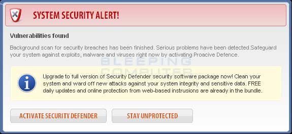 Fake System Security Alert