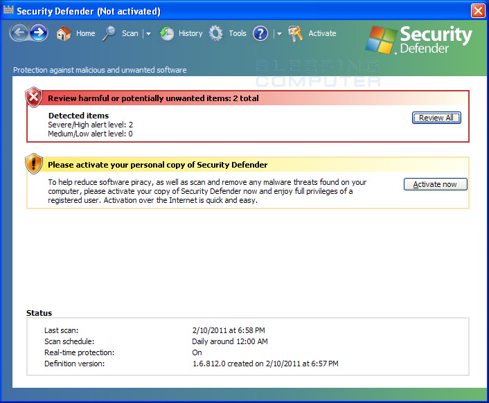 Security Defender screen shot