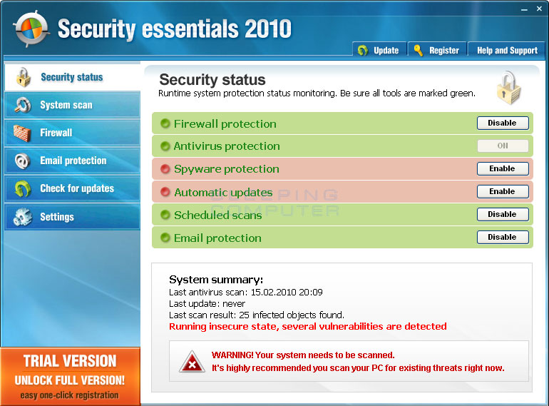 Security Essentials 2010 screen shot