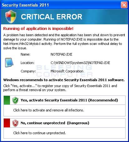 Fake critical error
