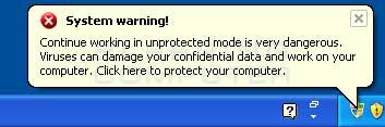 Fake system warning