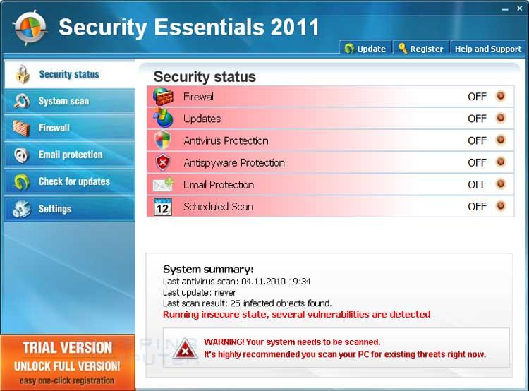 Security Essentials 2011 screen shot