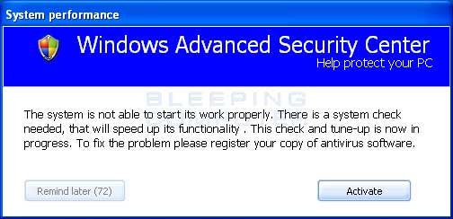 Windows Advanced Security Center Alert