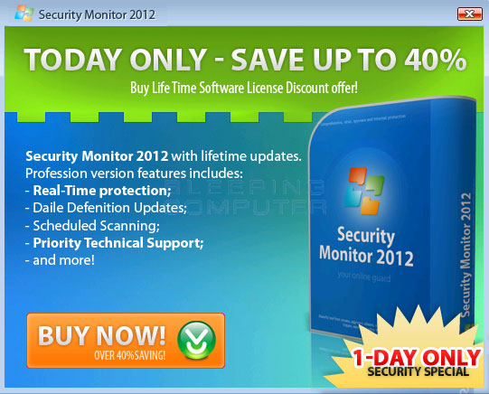 Pop-up Advertisement for Security Monitor 2012