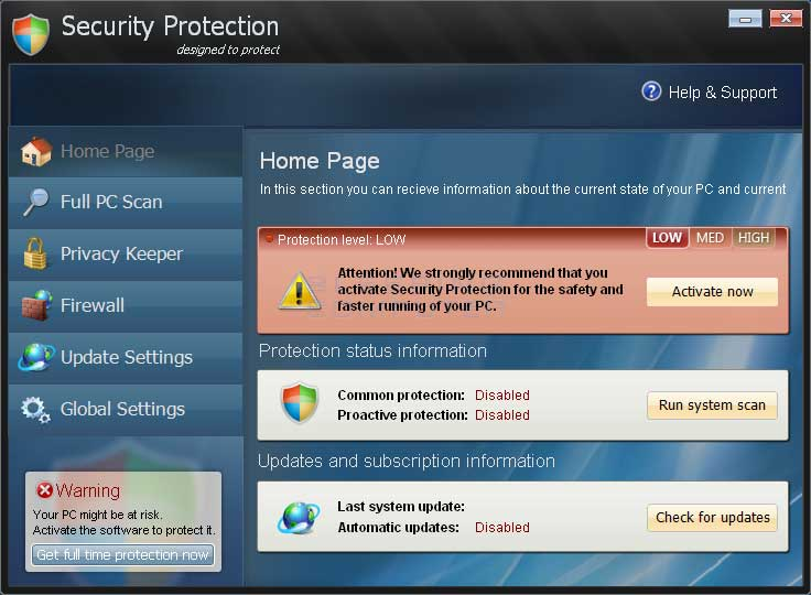 Security Protection screen shot