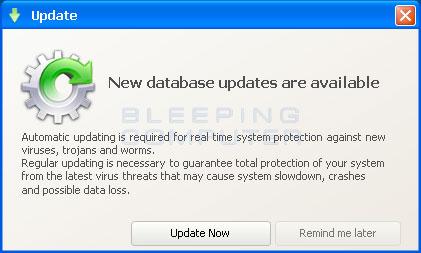 Fake database update alert