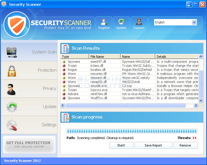 Security Scanner screen shot