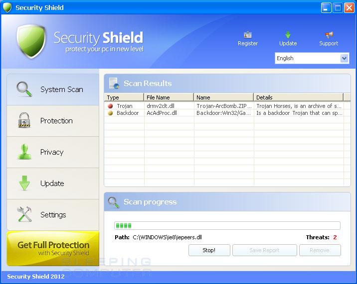 Security Shield 2012 screen shot
