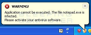 Infected file alert