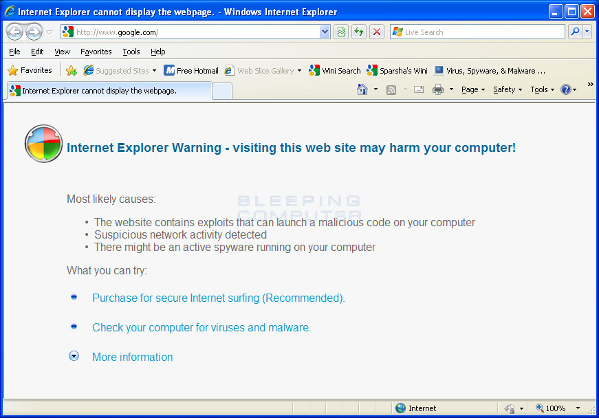 Internet Explorer hijack