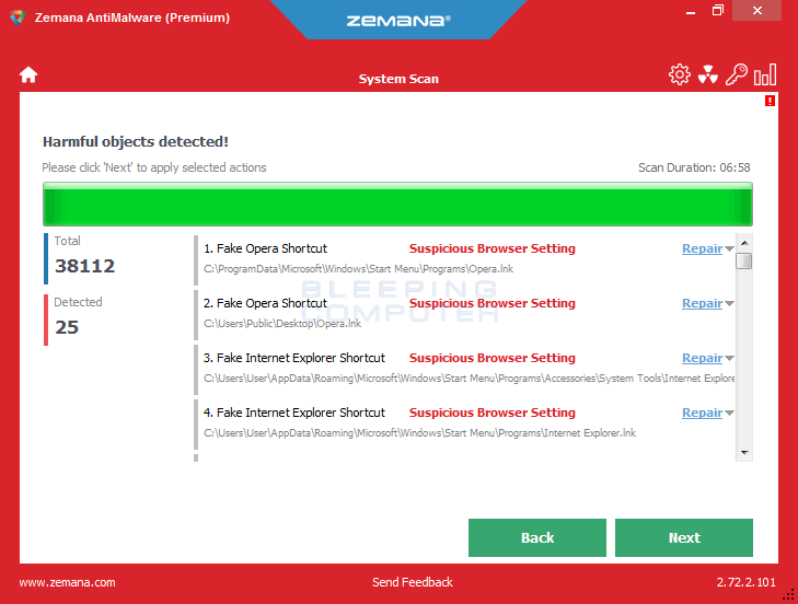 Zemana AntiMalware Scan Results