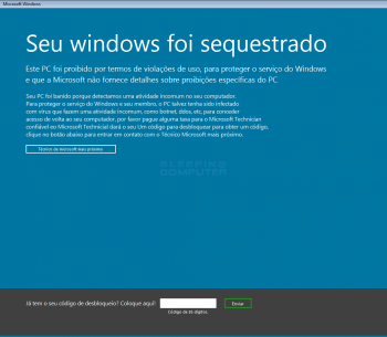 Seu windows foi sequestrado Screenlocker Screenshot