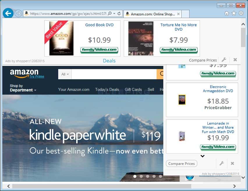 Shopperz ads on Amazon.com