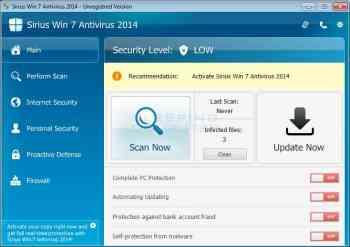 Sirius Win 7 Antivirus 2014 Image