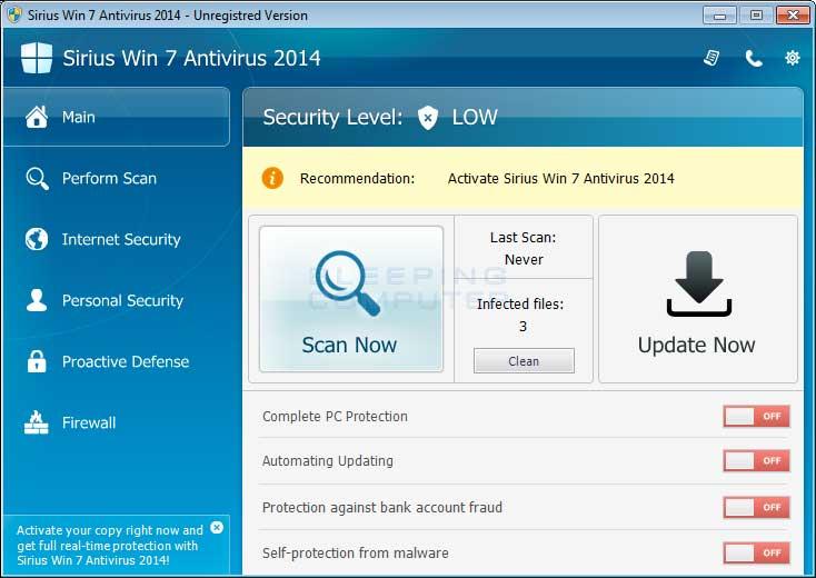Sirius Win 7 Antivirus 2014 screen shot
