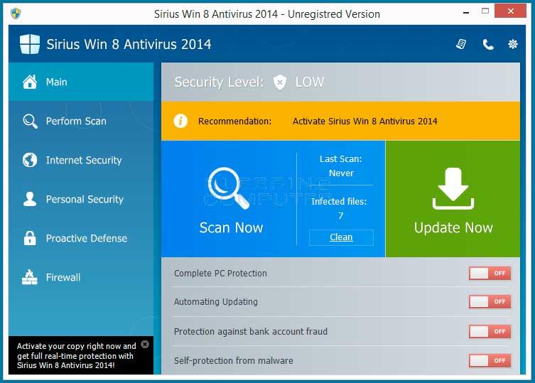 Sirius Win 8 Antivirus 2014 screen shot