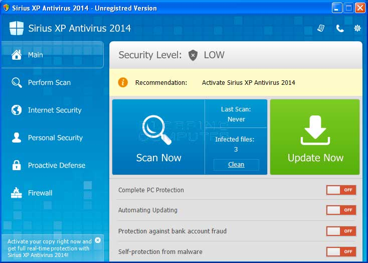 Sirius XP Antivirus 2014 screen shot