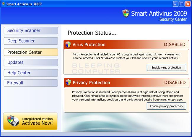 Smart Antivirus 2009 screen shot