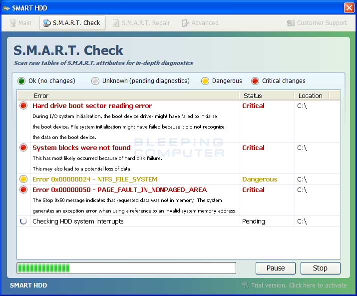 S.M.A.R.T. Check screen