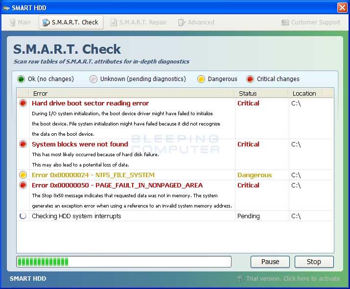 S.M.A.R.T. Check screen