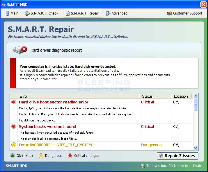 S.M.A.R.T. Repair screen