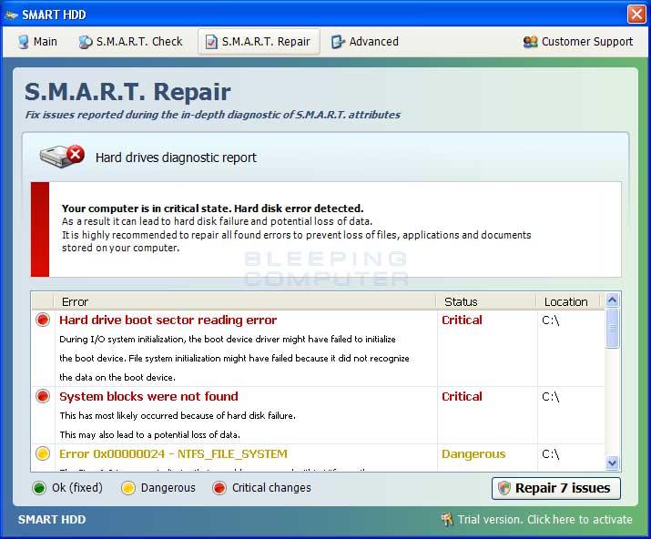 S.M.A.R.T. Repair screen