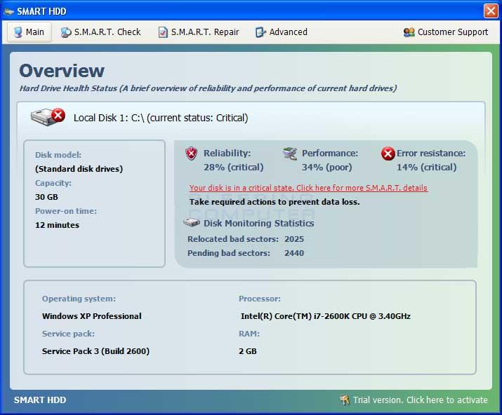 Smart HDD screen shot