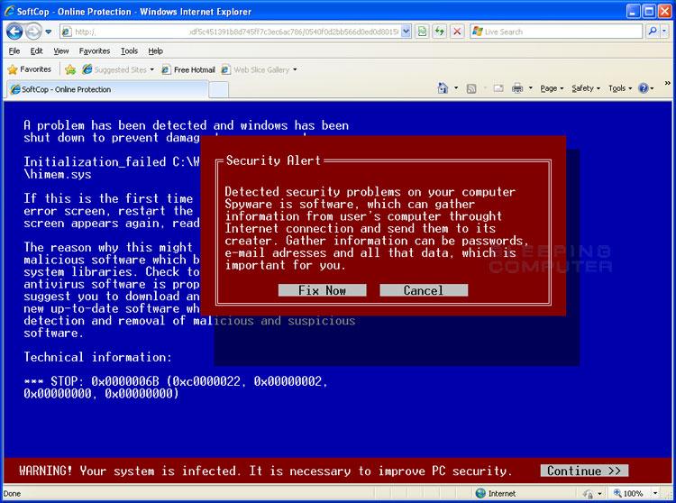 Fake online scanner