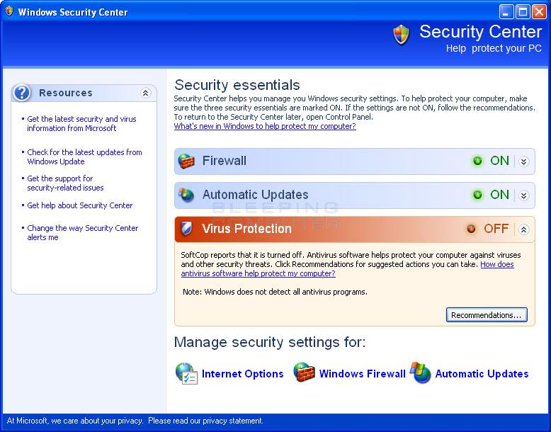 Fake Windows Security Center