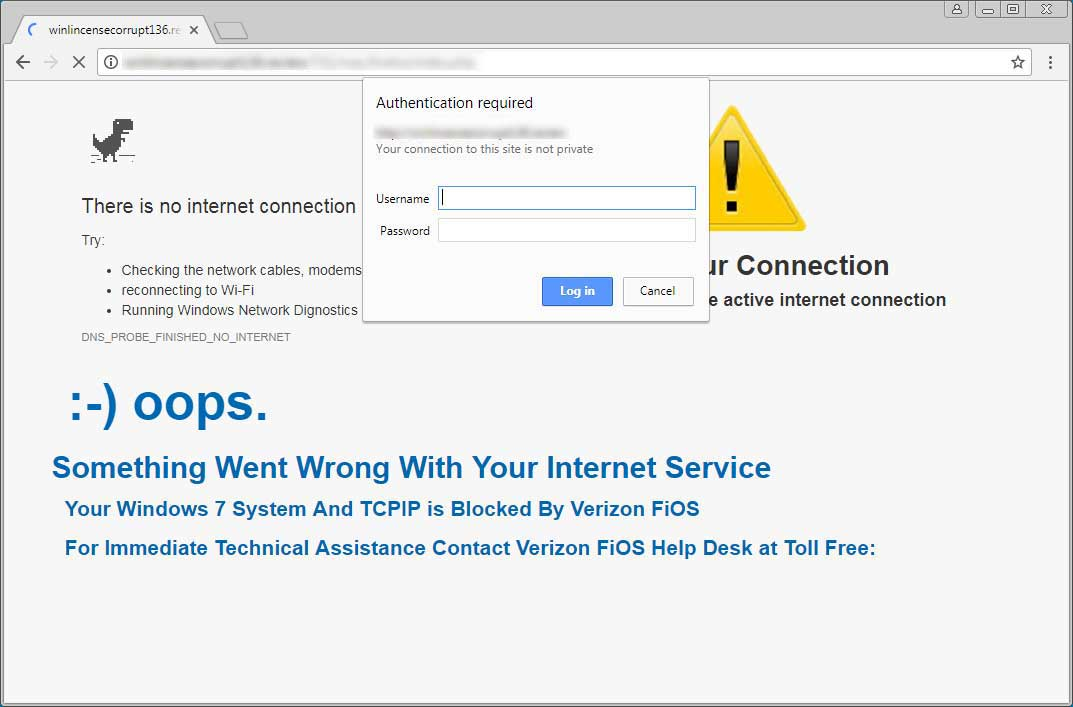 Something Went Wrong With Your Internet Service Scam