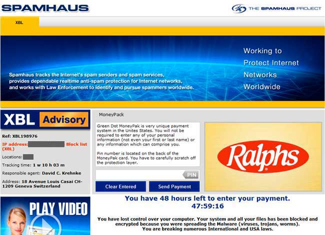 Spamhaus Ransomware Screen Shot